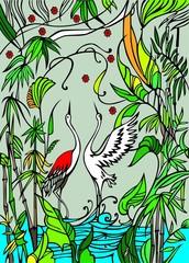 Dancing stork  couple n spring