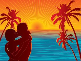 Couple on beach vector