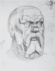 drawing plaster head