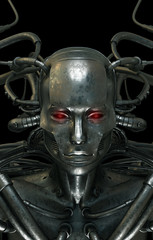 Future wired man cyborg