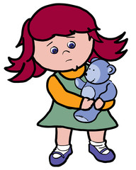 sad little girl holding a toy bear in her arms