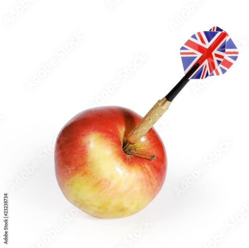 Dart And Apple On A White Stock Photo And Royalty Free Images On