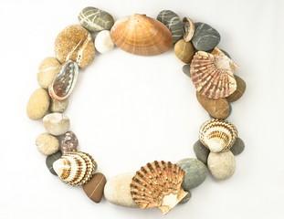circle sea stones and shelfs border