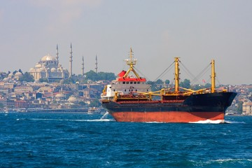 Freighter before Istanbul Skyline, Turkey