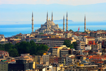 Istanbul skyline with blue mosque and marmara sea in bakcground