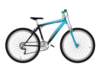 Blue bicycle isolated on white