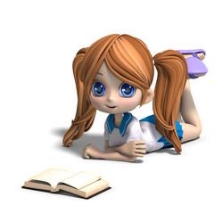 cute little cartoon school girl reads a book. 3D rendering with