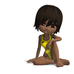 beautiful cartoon girl in a onepiece swimsuit. 3D rendering with