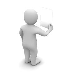 Man holding and looking at blank document 3d
