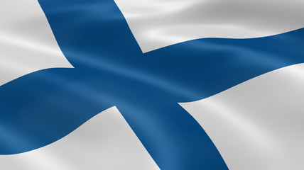 Finnish flag in the wind