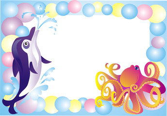 Sea framework for a photo with sea animals, vector