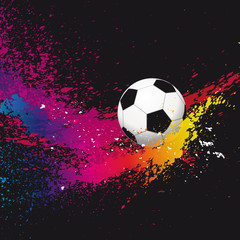 The colorful footballs on a black background. Vector illustratio