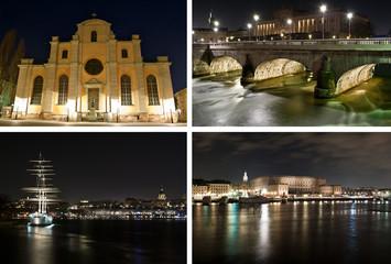 Mosaïque Stockholm de nuit