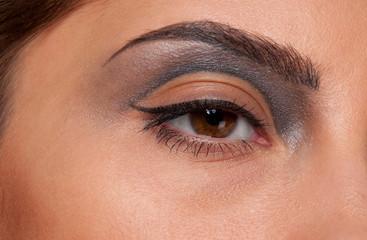 Closeup eye makeup zone of doll woman