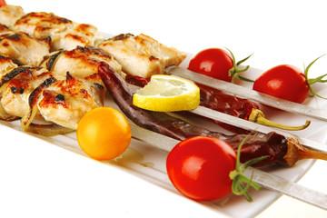 roast shish kebab on white