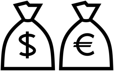 Big Money - Dollar and Euro symbols. Vector illustration