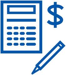 Save your money – financial items. Calculator (Vector)