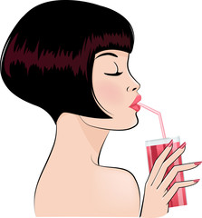sexy girl drinking cocktail