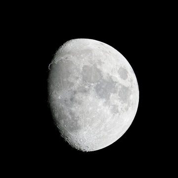 Close-up of the waxing gibbous moon (84% of full)