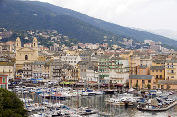 old port Bastia Corsica France with St. John the Baptist church