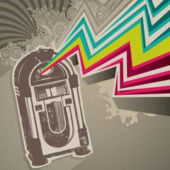 Designed retro banner with jukebox.