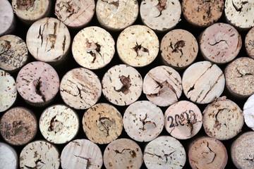 Wine corks on a black background