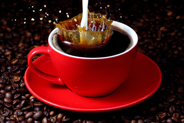 Milk, splashing in cup of coffee