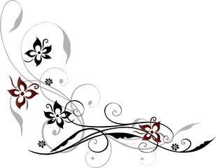 Ranke, floral, filigran, Blumen, Blüten, rot