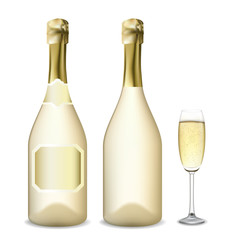 Bottle and glass of champagne. Vector illustration.