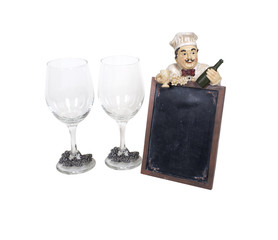 Wine Glasses with Menu Sign