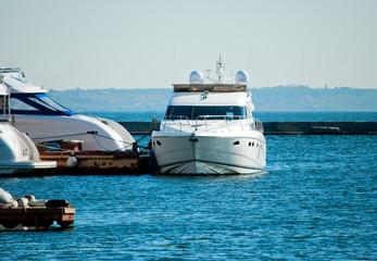 White yachts at the marina