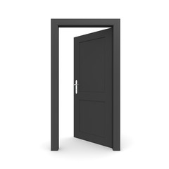 Open Single Black Door