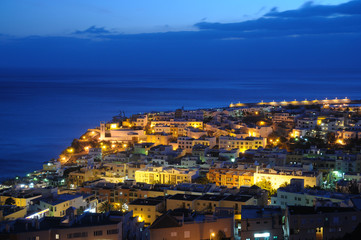 Town Morro Jable at night. Canary Island Fuerteventura