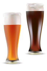 Vector illustration of light and dark beer on white background