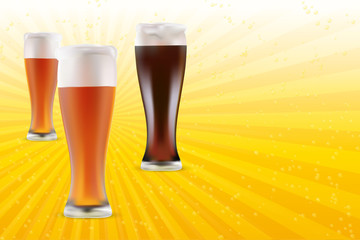 Vector illustration of light and dark beer on shiny background