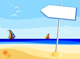 Cartello a forma di freccia, in spiaggia