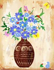Vase wildflowers