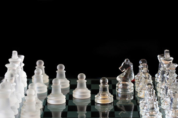 Power of Chess - crystal chess on black background