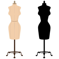 Clothes mannequin and silhouette isolated on white