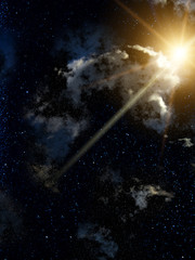 Sky  clouds  meteor