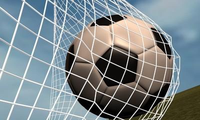 balón de futbol contra red de porteria