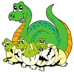 Photo sur Plexiglas Dinosaurs Dinosaur mom with cute babies