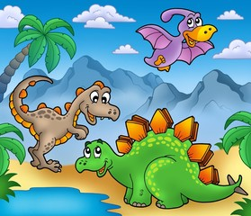 Photo sur Plexiglas Dinosaurs Landscape with dinosaurs 2