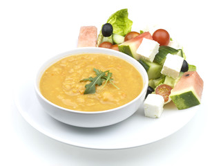 Spicy Lentil Soup with Watermelon Salad and Rocket