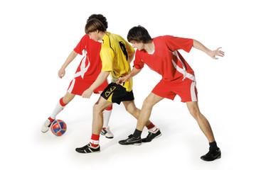 Boys with soccer ball, Footballers