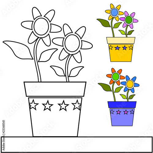 vaso di fiori da colorare Immagini e vettoriali Royalty Free su ...
