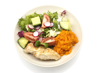 Chicken Breast with Sweet Potato Mash and Salad
