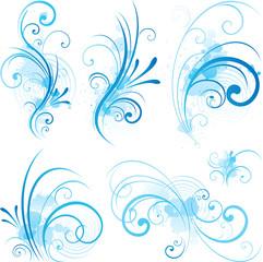 Blue scroll shape