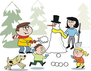 Family playing in snow cartoon