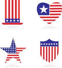 Elements and icons related to American patriotism - 1